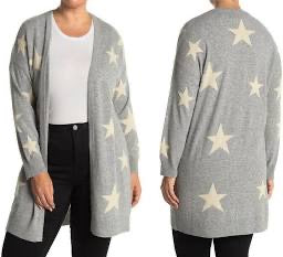 Gray Cashmere Sweater with tan Stars  by Philosophy