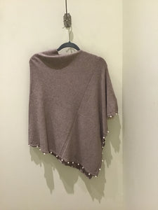 Pearl Trim Poncho in Oatmeal by La Fiorentina