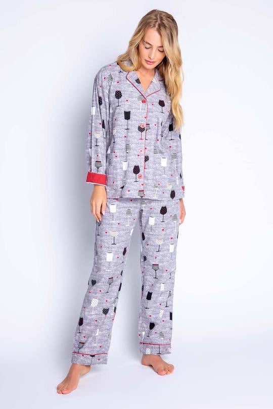 It's Time to Wine Down Pajama Set in Grey by PJ Salvage