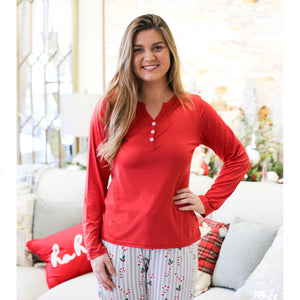 Classic Henley Sleep Shirt in True Red by Royal Standard
