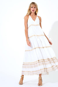 Long tiered Tassel Dress in White and Gold by Oliphant