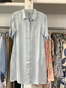 Washable Silk Shirt Dress in Light Blue by WAY