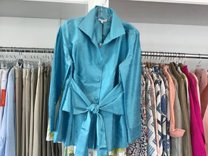 Sash Tie Blouse in Aqua by Patty Kim
