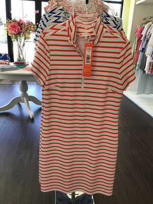 Alexia Dress in classic stripe white/ apricot by Jude Connally