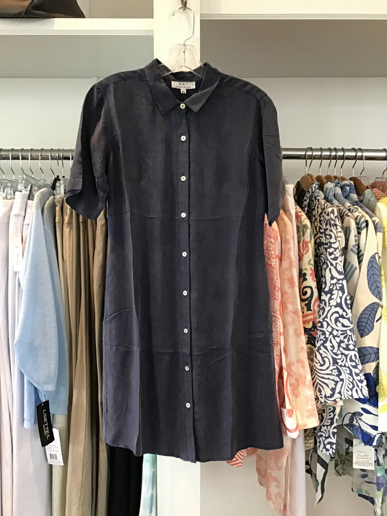 Washable Silk Shirt Dress in Navy by WAY