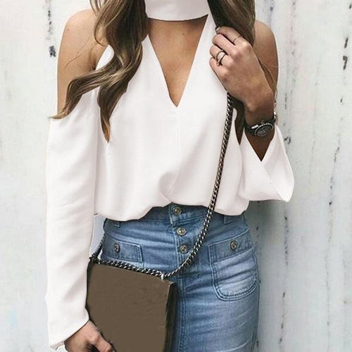 Sexy Off-Shoulder Chiffon Long Sleeve Pure Colour Shirt