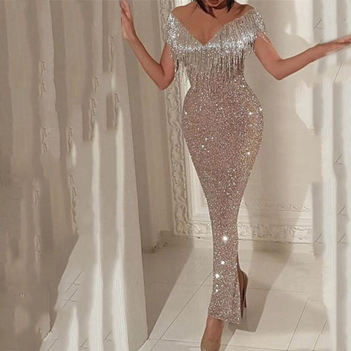 Sexy Off Shoulder V Collar Tassels Bodycon Evening Dresses