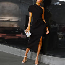 Load image into Gallery viewer, Elegant Sloping Shoulder Pure Colour Waist Bodycon Dresses