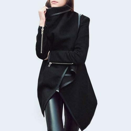 Stylish  With Zips Asymmetrical Hems  Overcoats