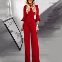 Load image into Gallery viewer, Casual Belted Pure Colour Round Neck Jumpsuits