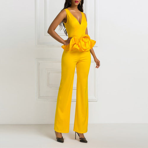 Casual V Neck Pure Colour Ruffled Jumpsuit