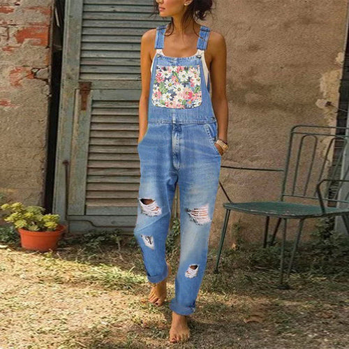 Casual Washed Denim Patch Strap Jeans Jumpsuits
