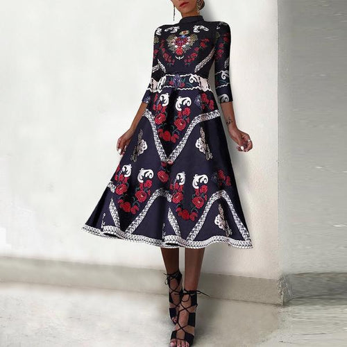 Fashion Elegant Ethnic Style Floral Printed Skater Dress