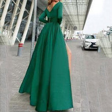 Load image into Gallery viewer, V-Neck Long Sleevethe Sides Split Maxi Dress