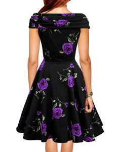 Surplice  Floral Printed Skater Dress