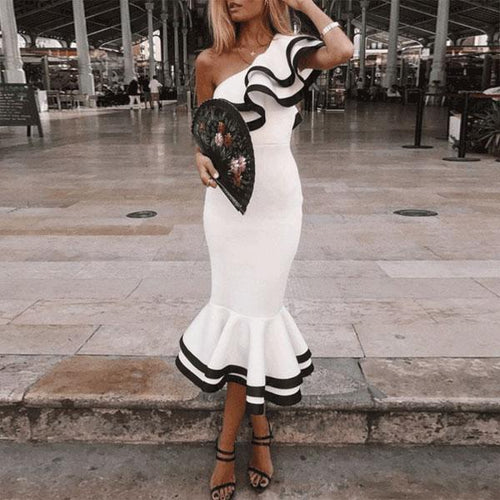 One-Shouldered Fishtail Vintage Bodycon Dresses