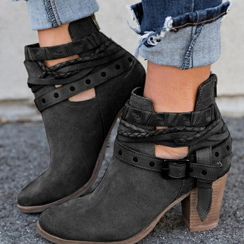 Thick And Low-Heeled High-Heeled Round Head Women's Boots