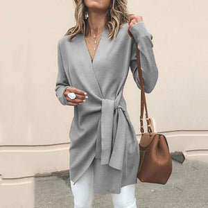 Solid Color V-Neck Casual Outerwear Sweater