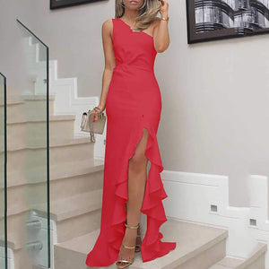 One Shoulder Cutout Flounce Inverted Pleat Plain Evening Dresses