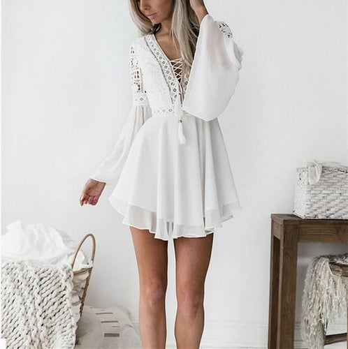 Fashion Sexy V Neck   Grenadine Mini Dress