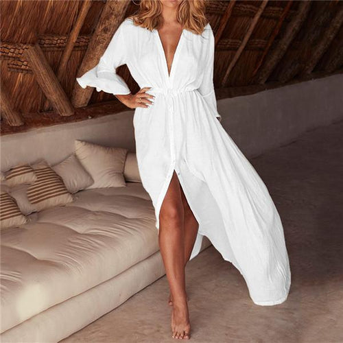 Sexy Deep V Collar Solid Color Vacation Dress