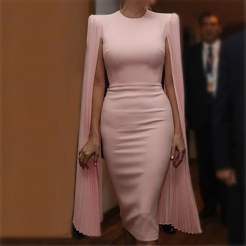 Fashionable Solid Color Round Collar With Long Sleeves Bodycon Dresses