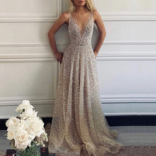 Load image into Gallery viewer, Sexy V-Neck Sparkling Evening Dress