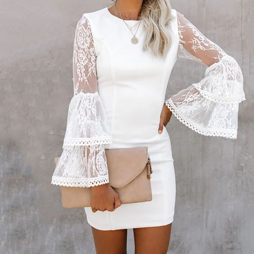 Women's Elegant Ship Collar Bell Sleeve Pure Color Splicing Lace Dress