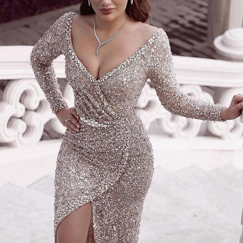 Women's Elegant Deep V-Neck Paillette Long Sleeve bodycon Evening Dress
