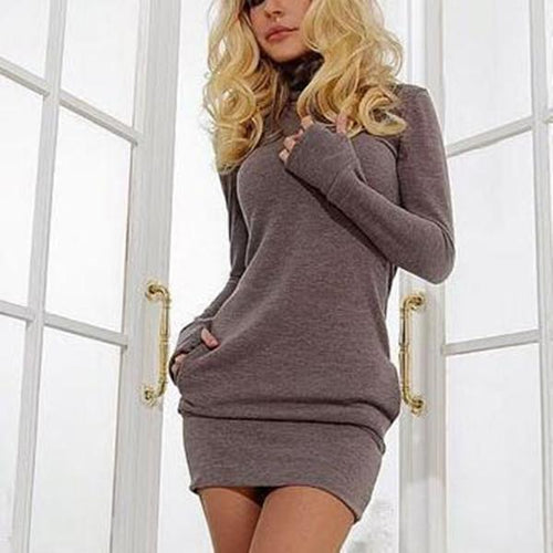 Fashion Plain Long Sleeve Bodycon Dress