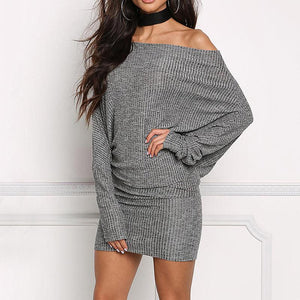 b5f288cb78 Casual sexy collar sleeves knitted sweater Mini dress