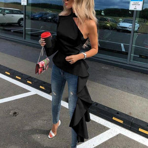 Off-The-Shoulder Asymmetric Blouse