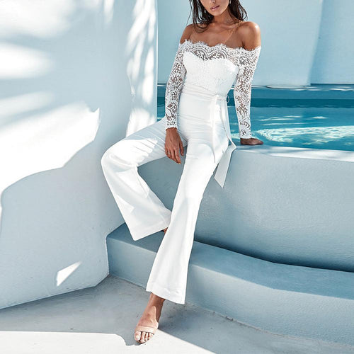 Fashion Word Collar   Off-The-Shoulder Lace Stitching Jumpsuit