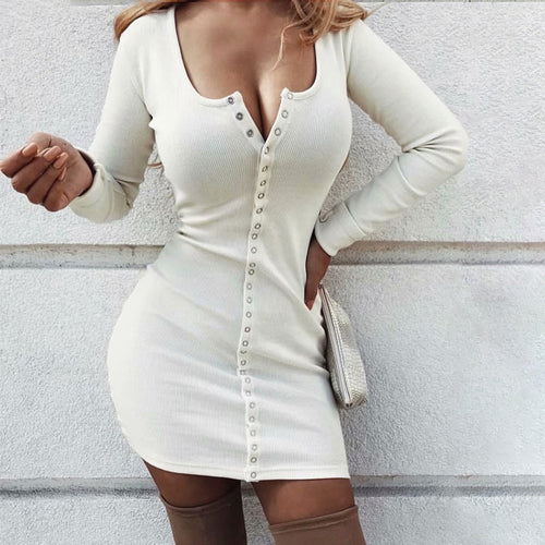 Sexy Solid Color Single Breasted Hip Sweater Dress