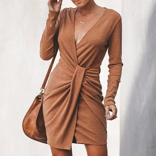 Women's Fashion Sexy V-Neck Irregular Long Sleeve Dress