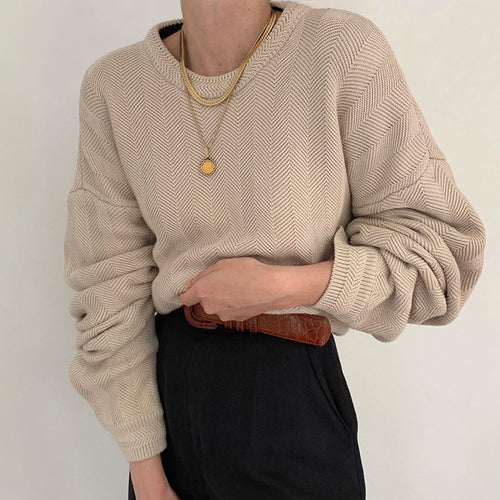 Fashion Pure Color Round Neck Shoulder Sleeve Sweater