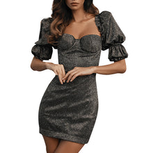 Load image into Gallery viewer, Finalpink Women's Fashion Puff Sleeve Backless Dress