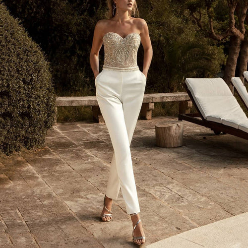 Women Sexy Tube Top Strapless Off-shoulder Knitted Straight Jumpsuit