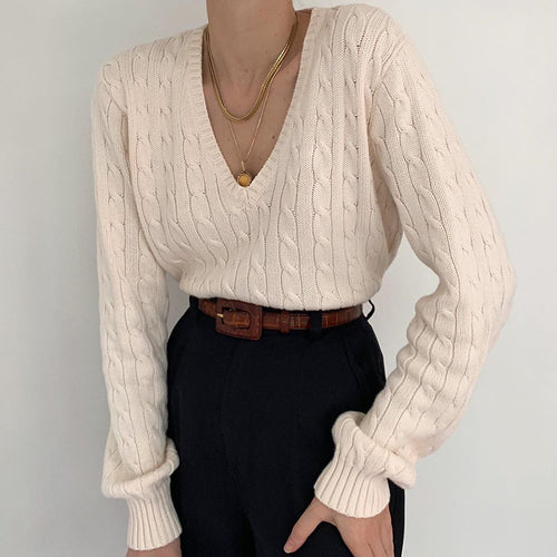 Casual deep v long sleeves white sweater
