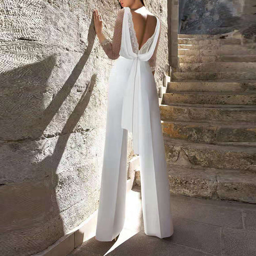 Womens Sexy Backless Lace Splicing Jumpsuit