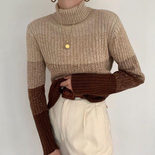 Women's casual high-collar spell color knitted sweaters