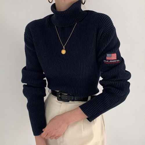 Casual Pure Color Turtleneck Slim Sweater