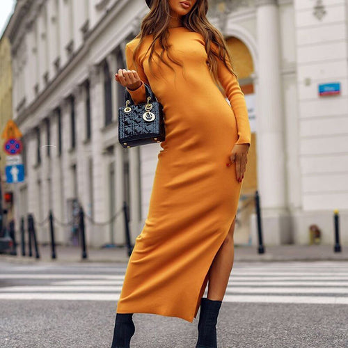 Fashion Round Neck Solid Color Split Long Sleeve Dress