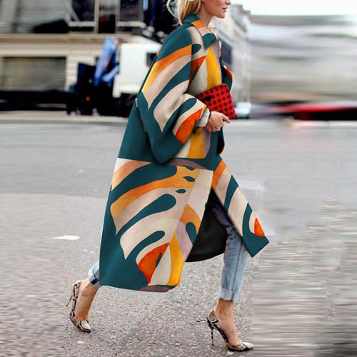 Fashion Printed Colour   Long Sleeve coat