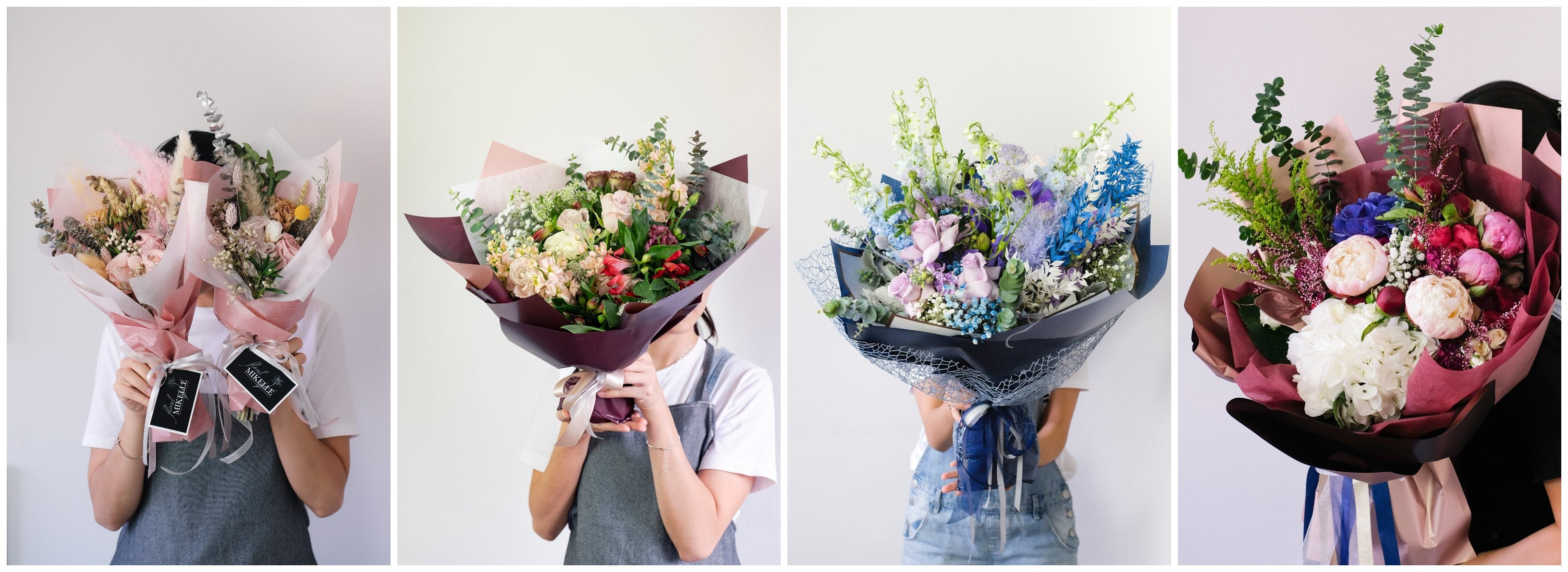 Size guide for preserved flower and fresh flower bouquets signature collection by best singapore florist floral mikelle