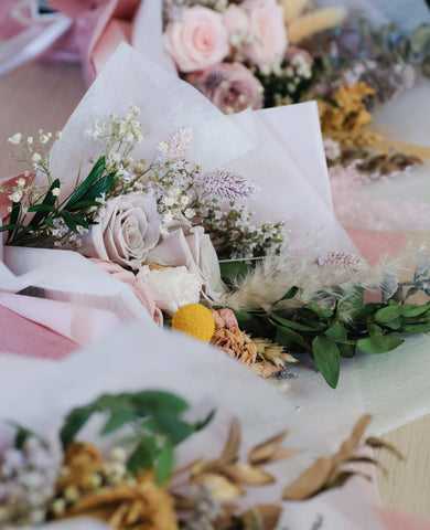 Mini dried and preserved flower bouquets for every occasion curated by Singapore's best bespoke florist Floral Mikelle