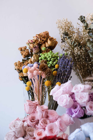 Customise your unique mini preserved flower hand-tied bouquets for loved ones today!