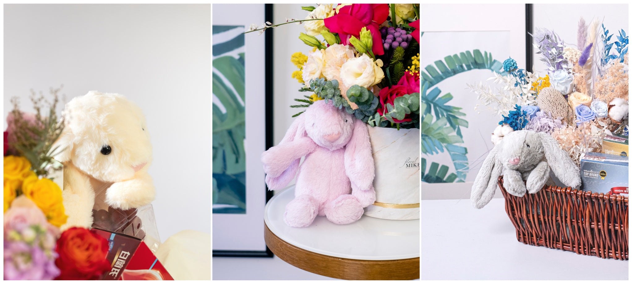 Floral gifting add ons with rabbit teddy bears by top bespoke florist floral mikelle