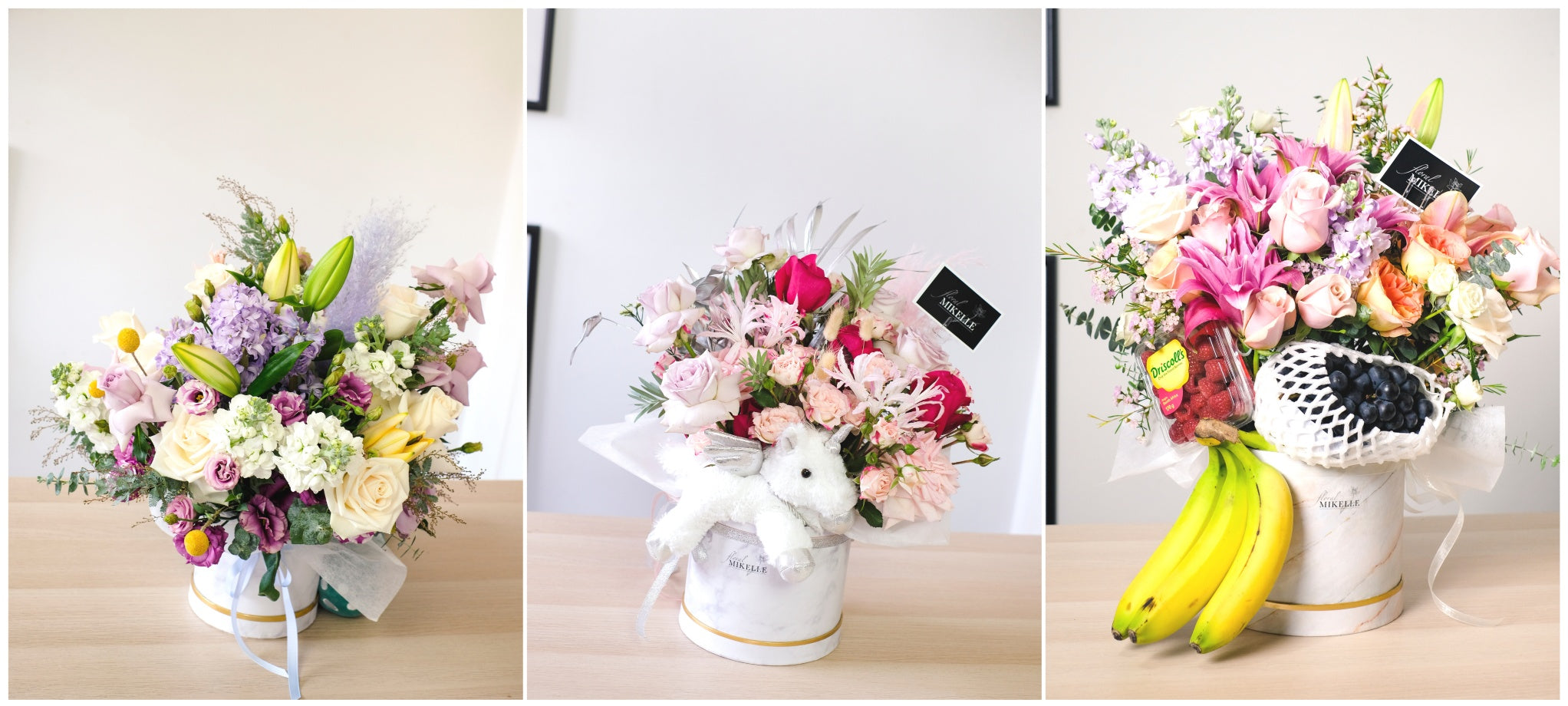 Flower gifting size guide for floral boxes with teddy bears and fruits by bespoke florist floral mikelle