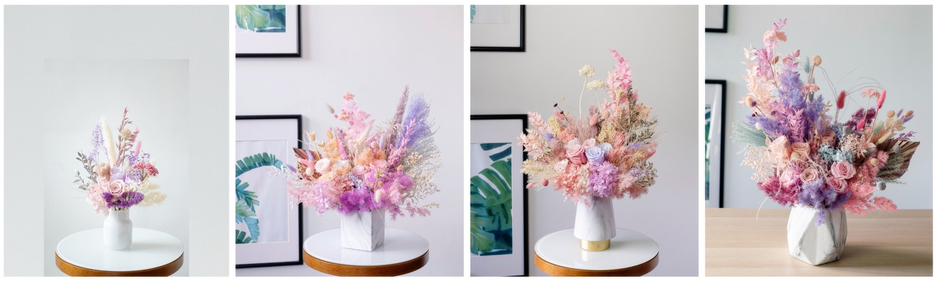 Flower vase arrangement size comparison visual guide
